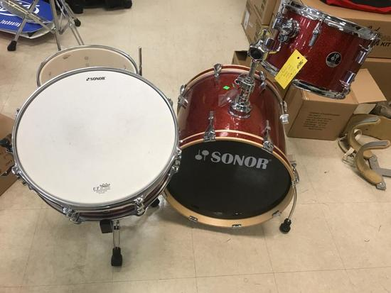Sonor Drum Set, with snare and stand (Red Galaxy Sparkle)
