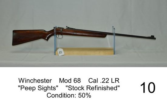 "Winchester    Mod 68    Cal .22 LR    ""Peep Sights""    ""Stock Refinished"""