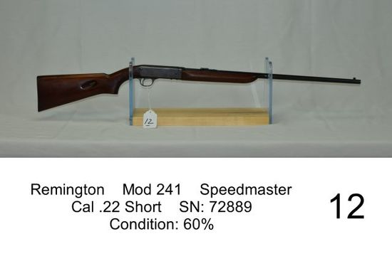 Remington    Mod 241    Speedmaster    Cal .22 Short    SN: 72889    Condit