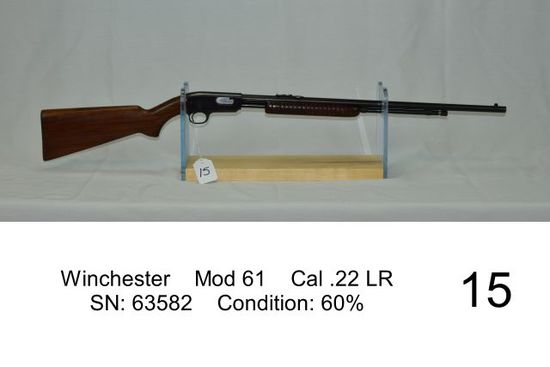 Winchester    Mod 61    Cal .22 LR    SN: 63582    Condition: 60%