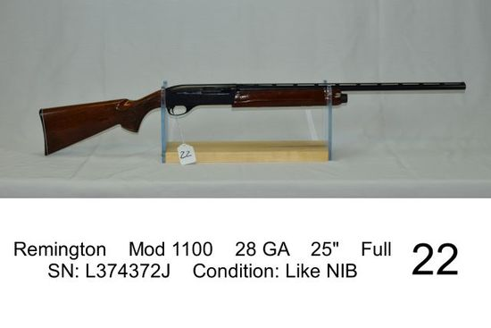 "Remington    Mod 1100    28 GA    25""    Full    SN: L374372J    Condition:"