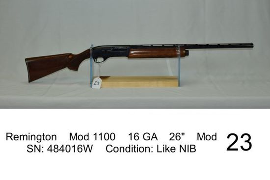 "Remington    Mod 1100    16 GA    26""    Mod    SN: 484016W    Condition: L"