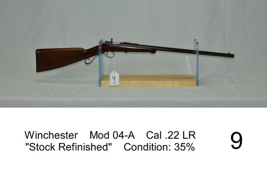 "Winchester    Mod 04-A    Cal .22 LR    ""Stock Refinished""    Condition: 35"