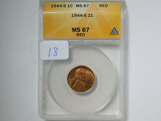1944S LINCOLN CENT ANACS MS67 RED GREYSHEET $65.