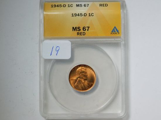 1945D LINCOLN CENT ANACS MS67 RED GREYSHEET $90.