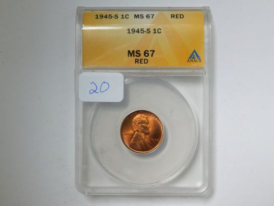 1945S LINCOLN CENT ANACS MS67 RED GREYSHEET $55.