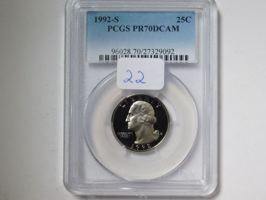 1992S WASHINGTON QUARTER PCGS PR70 DCAM (PERFECT GRADE)