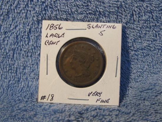 1856 SLANTED 5'S LARGE CENT VF+