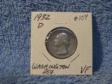 1932D WASHINGTON QUARTER VF NICE
