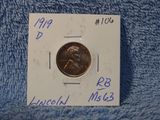 1919D LINCOLN CENT BU RED-BROWN