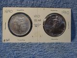 100 YR. SET 1890 XF MORGAN & 1990 SILVER EAGLE BU