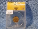 1944S LINCOLN CENT ANACS MS67 RED GREYSHEET $65.00