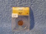 1945S LINCOLN CENT ANACS MS67 RED GREYSHEET $65.00