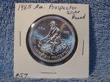 1985 AMERICAN PROSPECTOR 1-OZ. .999 SILVER ROUND BU