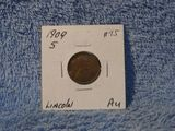 1909S LINCOLN CENT SEMI KEY AU