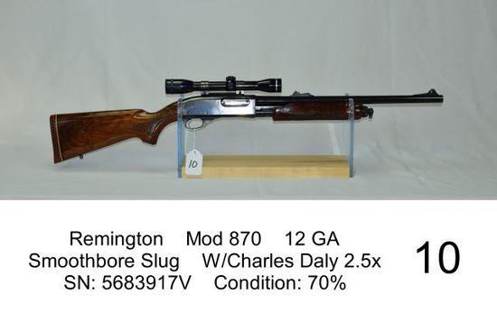 Remington    Mod 870    12 GA    Smoothbore Slug    W/Charles Daly 2.5x