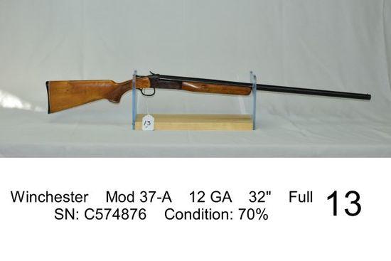 "Winchester    Mod 37-A    12 GA    32""    Full    SN: C574876    Condition:"