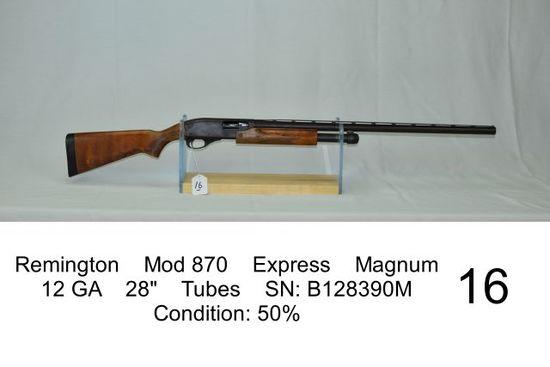 """Remington    Mod 870    Express    Magnum    12 GA    28""""    Tubes    SN: B"""