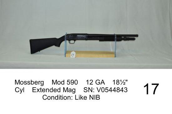 "Mossberg    Mod 590    12 GA    18½""    Cyl    Extended Mag    SN: V0544843"