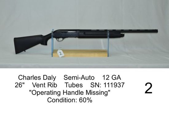 "Charles Daly    Semi-Auto    12 GA    26""    Vent Rib    Tubes    SN: 11193"