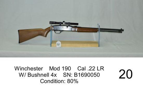 Winchester    Mod 190    Cal .22 LR    W/ Bushnell 4x    SN: B1690050    Co