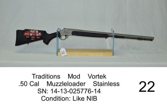 Traditions    Mod    Vortek    .50 Cal    Muzzleloader    Stainless    SN: