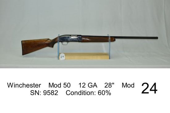 "Winchester    Mod 50    12 GA    28""    Mod    SN: 9582    Condition: 60%"
