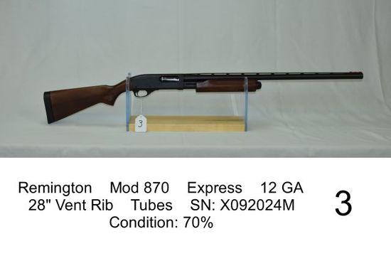 "Remington    Mod 870    Express    12 GA    28"" Vent Rib    Tubes    SN: X0"