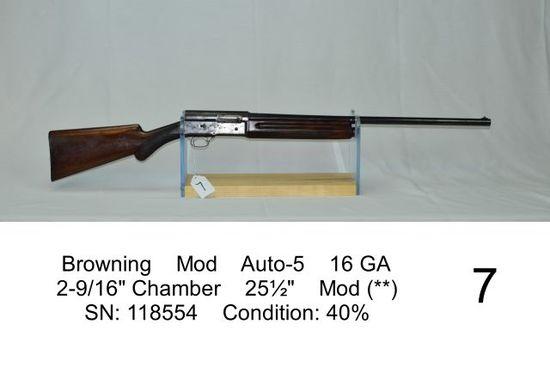 """Browning    Mod    Auto-5    16 GA    2-9/16"""" Chamber    25½""""    Mod (**)"""