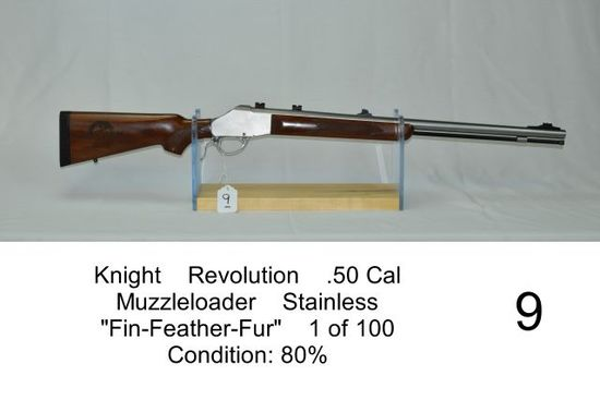 "Knight    Revolution    .50 Cal    Muzzleloader    Stainless    ""Fin-Feathe"
