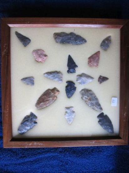 FRAME W/16 NATIVE AMERICAN OHIO ARTIFACTS