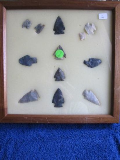 FRAME W/12 NATIVE AMERICAN ARTIFACTS FOUND IN HALMES CO. OHIO