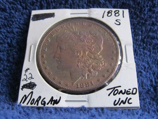 1881S MORGAN DOLLAR (COLORFUL TONING) BU