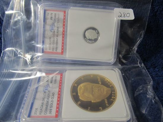 2008 REAGAN SALUTE GOLD CLAD MEDAL & 2007 .999 SILVER PROPOSED COIN PRESIDE