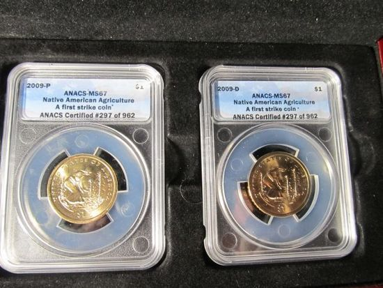 2009 P&D NATIVE AMERICAN DOLLARS ANACS MS67 IN PRESENTATION BOX