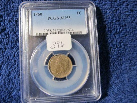 1860 INDIAN HEAD CENT PCGS AU53