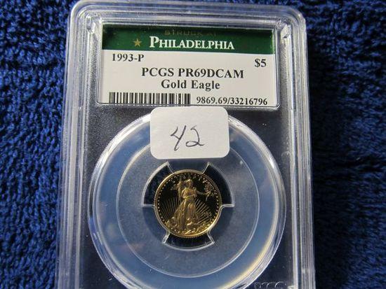 1993P 1/10-OZ. GOLD EAGLE PCGS PR69 DCAM