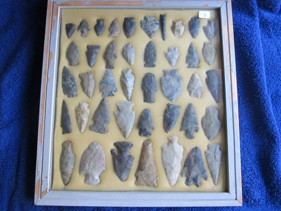 FRAME W/41 NATIVE AMERCIAN ARTIFACTS FOUND IN OHIO LARGEST 3""