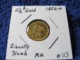 1852O $2.50 LIBERTY HEAD GOLD PIECE AU
