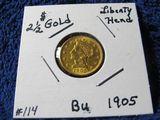 1905 $2.50 LIBERTY HEAD GOLD PIECE BU