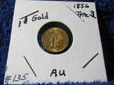 1856 $1. U.S. GOLD PIECE (UPRIGHT-5) AU