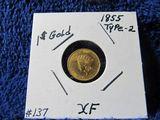 1855 U.S. $1. GOLD PIECE XF