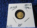 1851O U.S. $1. GOLD PIECE XF