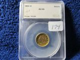 1852O $2.50 LIBERTY HEAD GOLD PIECE IN SEGS AU55 HOLDER