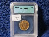 1911 $5. INDIAN HEAD GOLD PIECE IN ICG MS63 HOLDER