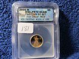 2005W 1/10-OZ. GOLD EAGLE IN ICG PR70 DCAM HOLDER