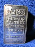 JOHNSON MATHEW 100-OZ. .999 SILVER BAR