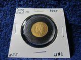 1855 $3. GOLD PIECE UNC