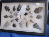 FRAME W/ 23 NATIVE AMERICAN ARTIFACTS FOUND IN COSHOCTON CO. OH. LARGEST 2
