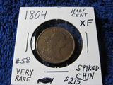 1804 SPIKED CHIN HALF CENT XF